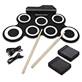 Tambour Electronique, Hizek Batterie Electronique 7 Pads Portable Drum Pad...