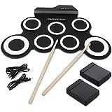 Elektronische Trommel, Hizek tragbar 7 Pads Roll Up E-Drum Kit Faltbare Perkussion Schlagzeug mit 2 Fußped und Drum Sticks für Anfänger und Kinder--schwarz