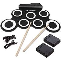 Tambour Electronique, Hizek Batterie Electronique 7 Pads Portable Drum Pad Kits Pliable Musical Entertainment Instrument de Pratique avec 2 Pédales de Pied et Des Bâtons de Tambour pour Débutants et Enfants - Noir