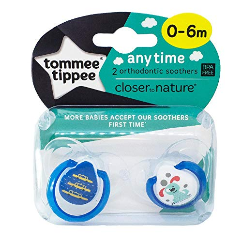 """TOMMEE TIPPEE""""ANY TIME""""-2x Physiological Silicone Pacifiers Soothers Dummies/BLUE (0-6m)"""