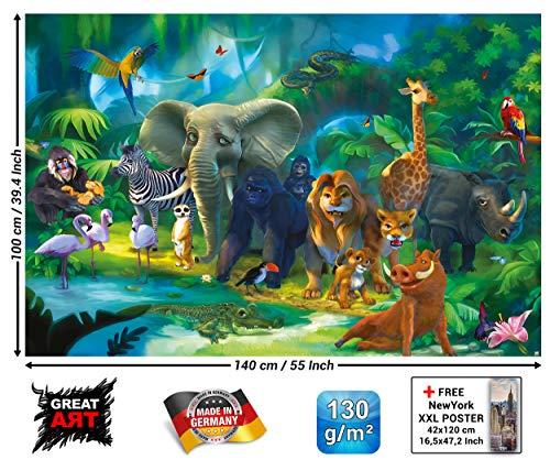 GREAT ART XXL Poster Kinderzimmer - Dschungel Tiere - Wandbild Dekoration Jungle Animales Zoo Natur Safari Adventure Tiger Löwe Elefant AFFE Fotoposter Wandbild Wanddeko Motiv (140 x 100 cm)