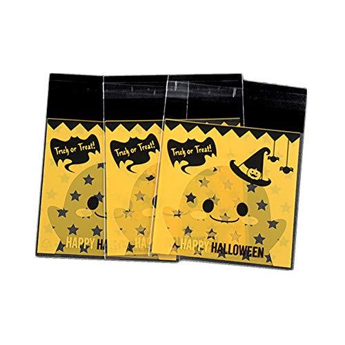 Cosanter Halloween-Plätzchen Süßigkeit Selbstklebende Tasche Verpackungsbeutel 100 Pcs , Geist trägt einen Hut Muster 10x13cm