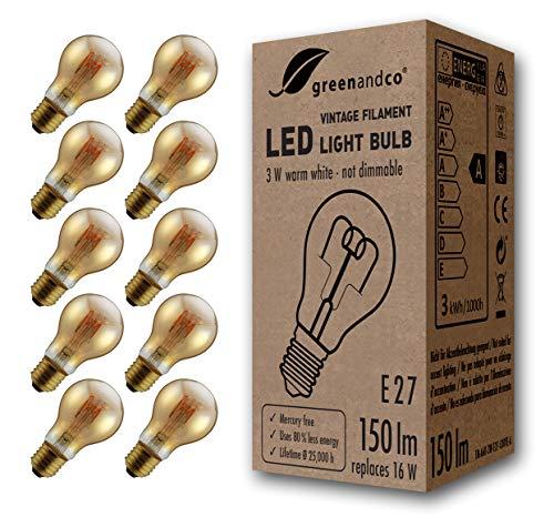 10x greenandco® Vintage Glühfaden LED Lampe ersetzt 16W E27 3W 150lm 2000K extra warmweiß 360° 230V flimmerfrei, nicht dimmbar, 2 Jahre Garantie