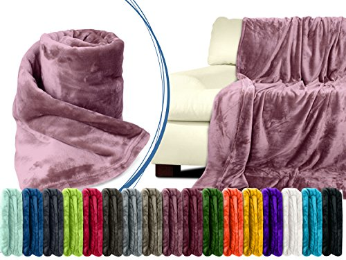 Premium-Microfaser-Flauschdecke - 17 fantastische Farben - 3 Komfortgrößen - federleicht & kuschelweich - zu Hause & auf Reisen, 180 x 220 cm, altrosa