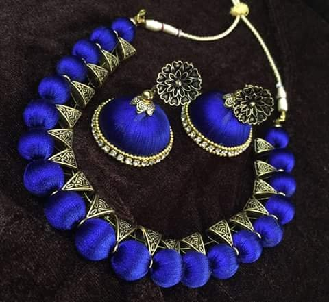 Silk Thread Traditional Jewellery Set in Royal Blue Color