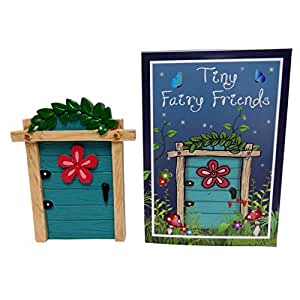 Blue resin fairy door with flower cute ornament gift boxed for Amazon uk fairy doors