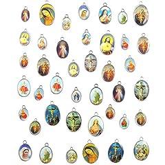 Idea Regalo - 40PCS misto smalto croce Gesù immagine Madonna miracolosa medaglia floreale rosario centrotavola in lega crocifisso croce ciondoli ciondolo DIY