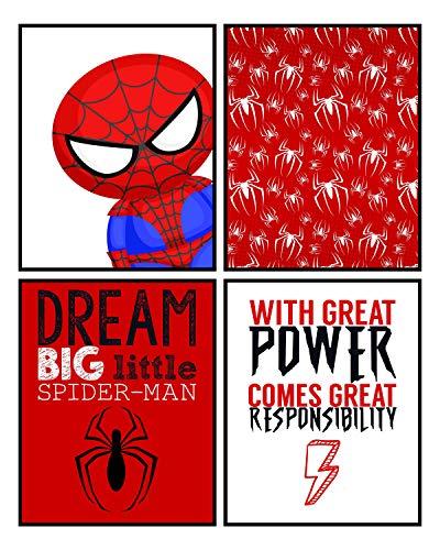 Silly Goose Gifts Dream Big Little Spiderman Wanddekoration, 4 Stück