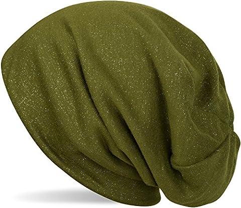 styleBREAKER Beanie Mütze mit all over Glitzer in Unifarben, Slouch Longbeanie Glitzermütze, Damen 04024117, Farbe:Grün