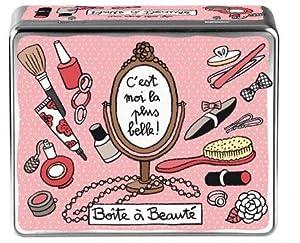 Boîte de Rangement Beauté C'EST MOI LA PLUS BELLE En Métal Rose DLP Derrière La Porte