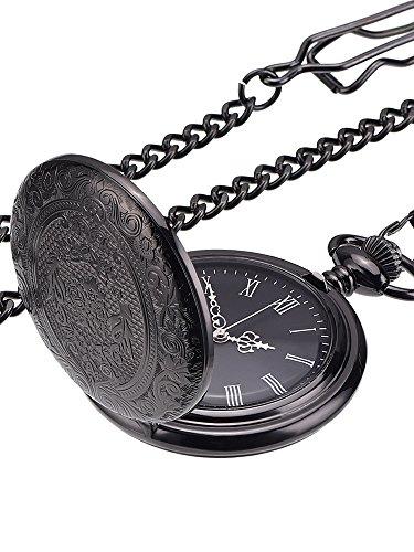 Klassische Schwarze Taschenuhr für Herren Uhr mit Kette und Silberzeiger