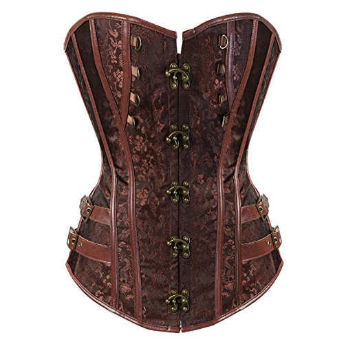 Kranchungel Women Steampunk Corset Top Waist Training Bustier Body Shaper Corsetto Bustino Small Brown