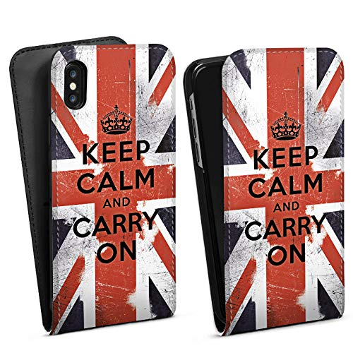 DeinDesign Flip Case kompatibel mit Apple iPhone XS Tasche Hülle Keep Calm and Carry On Phrases Sprüche - Polycarbonate Carry On