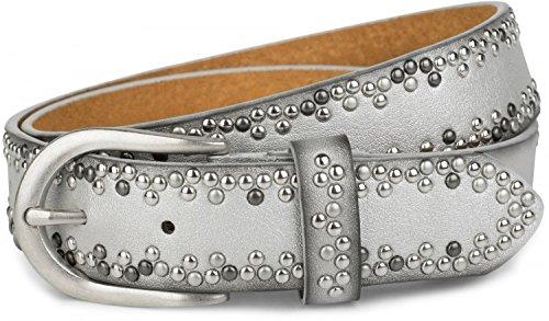 styleBREAKER Nietengürtel mit verschiedenfarbigen kleinen Nieten, Gürtel, kürzbar, Unisex 03010071, Farbe:Silber;Größe:85cm