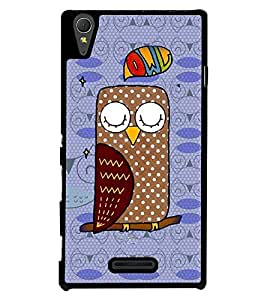 Fuson 2D Printed Owl Designer back case cover for Sony Xperia T3 - D4459