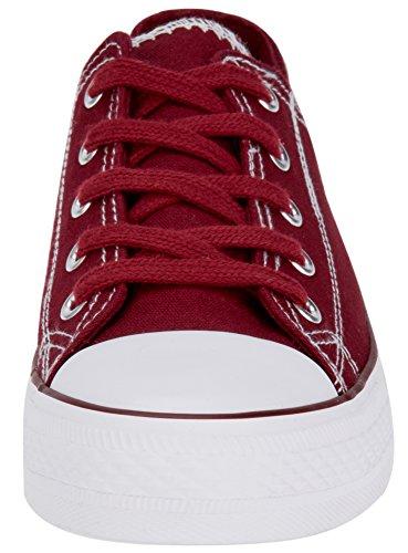 oodji Ultra Donna Sneakers di Tela con Punta in Gomma Rosso (4910B)