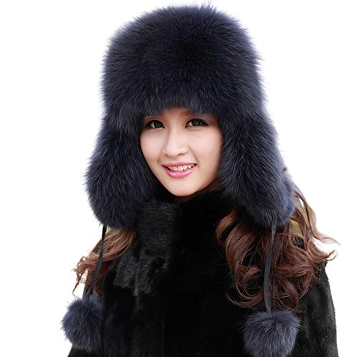 lethmik Women's Beanies Winter Trapper Bomber Hat Real Fox Fur Russian