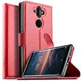KuGi Nokia 8 Sirocco Hülle Case, Nokia 8 Sirocco Wallet Case, Brieftasche Case Hülle PU Kunstleder Flip Case mit Stand