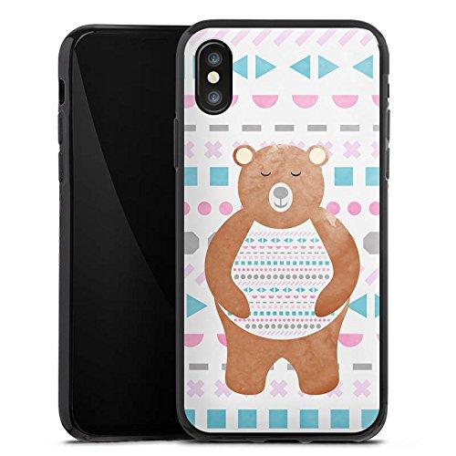 Apple iPhone X Silikon Hülle Case Schutzhülle Bär Muster Bärchen Silikon Case schwarz
