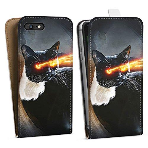 Apple iPhone X Silikon Hülle Case Schutzhülle Katze Laser Auge Downflip Tasche weiß