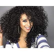 Hermoso y Moda Peluca ondulada rizada pelucas rizadas profundas Peluca sintética natural de las mujeres peluca