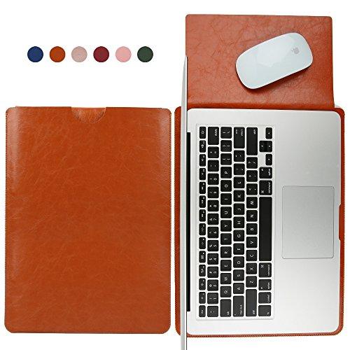 Hello Farbe 33cm 2-Use Laptop Sleeve für MacBook Pro und MacBook Air 33,8cm Slim Soft Mikrofaser Leder Schutz Laptop Anti-acratch Wasserdicht Antifouling (Braun) Soft Sleeve Tasche