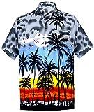 LA LEELA männer Hawaiihemd Kurzarm Button Down Kragen Fronttasche Beach Strand Hemd Manner Urlaub Casual Herren Aloha grau_261 M Likre 999