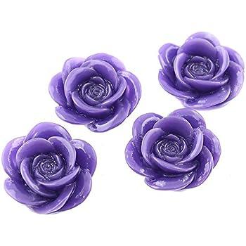 4 Cabochons als Rosen in schwarz 16 mm