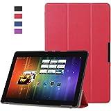 MYLB Carcasa Funda 3 Fold Smart Case Cover Cubierta de PU Cuero con el sostenedor / soporte de la carpeta Para BQ Aquaris M10 10.1 pulgada Tablet PC (rojo)