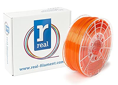 Real Filament 8719345000744 Real PETG, Spool of 1 kg, 1.75 mm, Transparent Orange