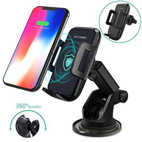 Wireless Kfz-Ladegerät, 2 in 1 Auto Halterung und Induktive Qi Schnellladegerät für Apple iPhone 8/ 8 Plus/ iPhone X, Samsung Galaxy Note8/S9/S9 Plus/S8/S8Plus/S7/S7Edge/S6Edge Plus/Note5 (Schwarz)