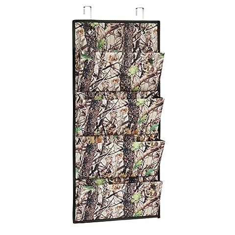 InterDesign Woodland Camouflage Wall Mount/Over Door 4-Pocket Fabric Closet Storage Organizer – Forest/Black