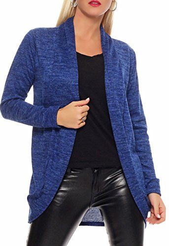 Malito Damen Strickjacke lang | Cardigan im eleganten Design | Angesagter Oversize Look - Weste - Jacke 5021 (blau)