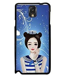 PrintVisa Designer Back Case Cover for Samsung Galaxy Note 3 :: Samsung Galaxy Note Iii :: Samsung Galaxy Note 3 N9002 :: Samsung Galaxy Note 3 N9000 N9005 (Beautiful Naughty Sexy Girl Stylish Hair Watch Blue Dress)