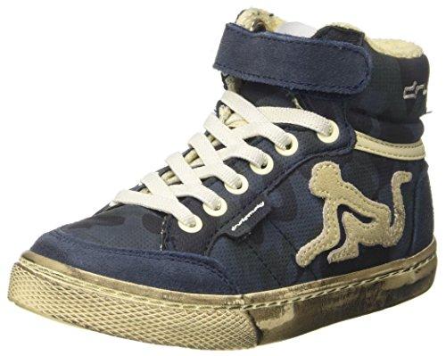 DrunknMunky Boston Camu Sneaker a Collo Alto Bambino, Blu (Navy Blue) 32 EU