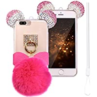 Funda iPhone 7 Plus Glitter,iPhone 8 Plus Carcasa,ZXK CO Fundas Protectiva Carcasa de Silicona Gel Suave Cover Case con Oreja de Ratón y Suave y cálido Pompón Bola para iPhone 7 Plus/8 Plus 5,5 pulgada-Rosa roja