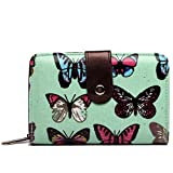 Miss Lulu Designer Oilcloth Floral Spot Polka Dot Butterfly Horse Folded Zip Wallet Purse (Butterfly Green)