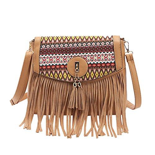 a5b679e733038 GWELL Damen Vintage Handtasche mit Quaste Tribal Stickerei Klein  Umhängetasche Schultertasche rot braun. Material PU Leder ...