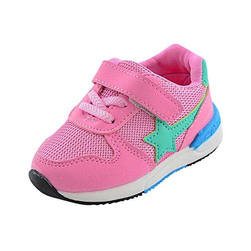 Topgrowth scarpe sportive per bambini running ragazzi ragazze stella scarpe a rete fuori unisex sneakers (24, rosa)
