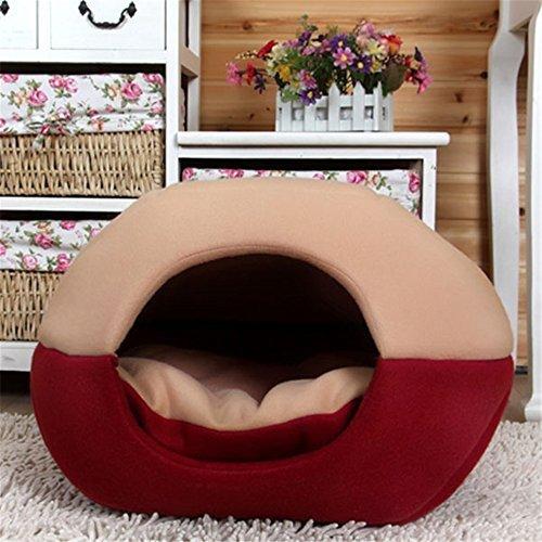 FFMODE Cozy Pet Hund Katze Höhle Mongolisches Jurte Geformte House Bett mit Herausnehmbare Kissen Innen, 50 x 40 x 44cm, Khaki/Rot - Unternehmen Store-kissen