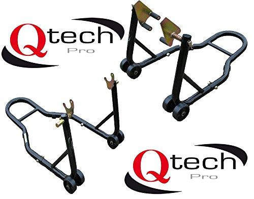 Qtech Motorrad Bike Vorderradgabel & Hinterrad V-Aufnahme MONTAGESTÄNDER Set für Prismabuchsen universelle Passform mit 320kg Gesamttraglast Lenkkopf Track Heber