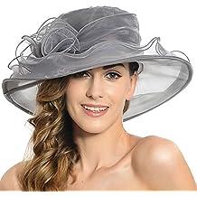 Discoball Mujeres de Sol Sombrero – Soporte de Gran ala Ancha de Organza de  Flores Gasa 098bac188df