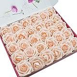 DerBlue - 60 Rosas Artificiales de Rosas Artificiales de Aspecto Real, Rosas Artificiales de Espuma, decoración para Ramos de Boda, centros de Mesa, Fiestas, Baby Shower, decoración para el hogar