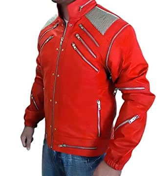 Michael Jackson Beat It Leather Jacket - MJ Red Real Leather Jacket (3XL)