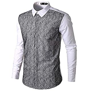 Anglewolf Fashion Mens Autumn Casual T Shirt Lace Patchwork Shirts Long Sleeve Shirt Fashion Blouse Outfits Button Clothes Tops Autumn Tee Gentleman Top Formal Sweatshirt(Wine Red,L)