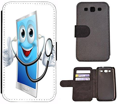 FioMi-Protect Flip Cover Samsung Galaxy J5 (Modell 2016) J510 Handy Tasche Etui Schutz Hülle Case Design (1081 Cartoon Tablet Doktor Arzt) -