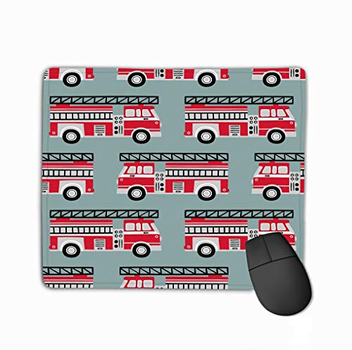 Mouse pad seamless vector pattern light blue background hand drawn fire trucks steelseries keyboard (Pink Fire Truck)