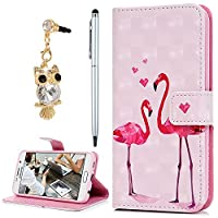 For Samsung Galaxy S6 Case, YOKIRIN 3D PU Leather Magnetic Adsorption Folio Inner Soft TPU with Card Slots Kickstand Flip Wallet Case (with Dust Plug & Stylus Pen), Flamingo