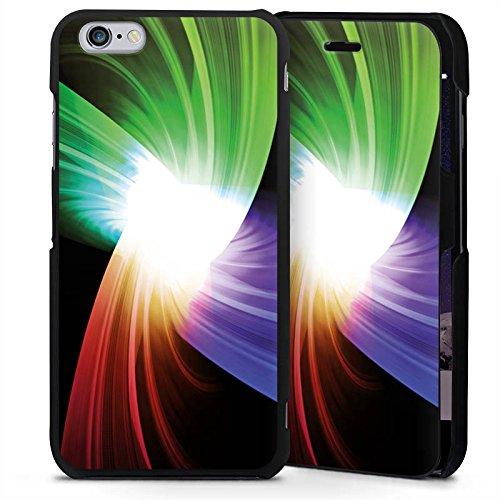 Apple iPhone 6s Plus Handyhülle mit Klappfunktion schwarz Lederhülle Flip Case Prisma Farben Licht (Prisma Garn)