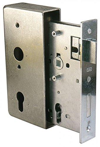 *GAH-Alberts 413415 Schlosskasten mit verzinktem Schloss, Stahl, roh, Dornmaß: 55 mm, HxBxT: 185 x 90 x 34 mm, Nuss: 8 x 8 mm*